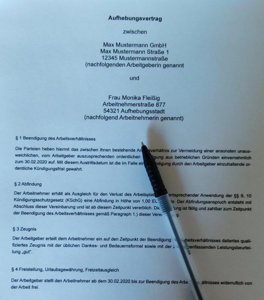 Aufhebungsvertrag Fachanwalt für Arbeitsrecht Mainz und Wiesbaden